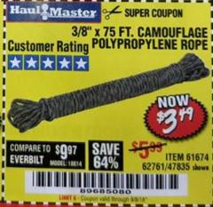 "Harbor Freight Coupon 3/8"" x 75 FT. CAMOUFLAGE POLY ROPE Lot No. 47835/61674 Expired: 9/5/18 - $3.49"