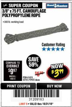 "Harbor Freight Coupon 3/8"" x 75 FT. CAMOUFLAGE POLY ROPE Lot No. 47835/61674 Expired: 10/31/18 - $3.99"