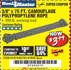 "Harbor Freight Coupon 3/8"" x 75 FT. CAMOUFLAGE POLY ROPE Lot No. 47835/61674 Expired: 4/1/19 - $3.49"