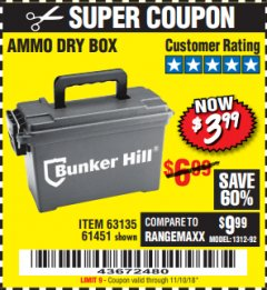 Harbor Freight Coupon AMMO BOX Lot No. 61451/63135 Expired: 11/10/18 - $3.99