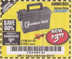 Harbor Freight Coupon AMMO BOX Lot No. 61451/63135 Expired: 8/25/18 - $3.99