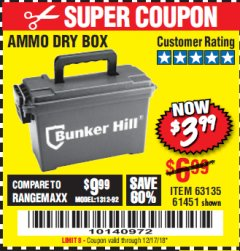 Harbor Freight Coupon AMMO BOX Lot No. 61451/63135 Expired: 12/17/18 - $3.99