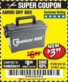 Harbor Freight Coupon AMMO BOX Lot No. 61451/63135 Expired: 1/16/19 - $3.99