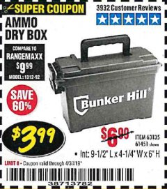 Harbor Freight Coupon AMMO BOX Lot No. 61451/63135 Expired: 4/30/19 - $3.99