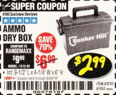 Harbor Freight Coupon AMMO BOX Lot No. 61451/63135 Expired: 6/30/19 - $2.99