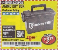 Harbor Freight Coupon AMMO BOX Lot No. 61451/63135 Expired: 10/30/19 - $3.99