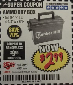 Harbor Freight Coupon AMMO BOX Lot No. 61451/63135 Expired: 9/30/19 - $2.99