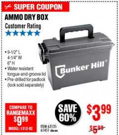 Harbor Freight Coupon AMMO BOX Lot No. 61451/63135 Expired: 10/4/19 - $3.99