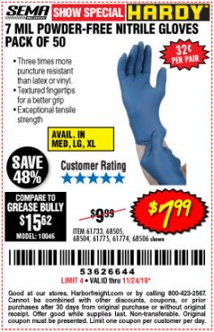 Harbor Freight Coupon POWDER-FREE HEAVY DUTY NITRILE GLOVES PACK OF 50 Lot No. 68504/61775/68505/61773/68506/61774 Expired: 11/24/19 - $7.99