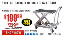 Harbor Freight Coupon 1000 LB. CAPACITY HYDRAULIC TABLE CART Lot No. 69148/60438 Valid Thru: 12/31/18 - $199.99