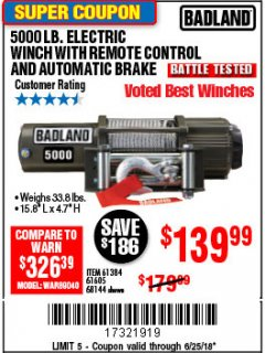 Harbor Freight Coupon 5000 LB. ELECTRIC WINCH WITH REMOTE CONTROL AND AUTOMATIC BRAKE Lot No. 68144/61384/61605 Expired: 6/25/18 - $139.99