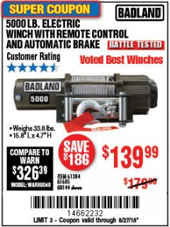 Harbor Freight Coupon 5000 LB. ELECTRIC WINCH WITH REMOTE CONTROL AND AUTOMATIC BRAKE Lot No. 68144/61384/61605 Expired: 8/27/18 - $139.99