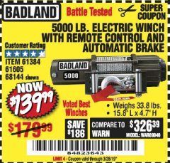 Harbor Freight Coupon 5000 LB. ELECTRIC WINCH WITH REMOTE CONTROL AND AUTOMATIC BRAKE Lot No. 68144/61384/61605 Valid Thru: 3/28/19 - $139.99