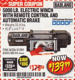 Harbor Freight Coupon 5000 LB. ELECTRIC WINCH WITH REMOTE CONTROL AND AUTOMATIC BRAKE Lot No. 68144/61384/61605 Valid Thru: 2/28/19 - $139.99