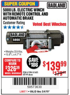 Harbor Freight Coupon 5000 LB. ELECTRIC WINCH WITH REMOTE CONTROL AND AUTOMATIC BRAKE Lot No. 68144/61384/61605 Valid Thru: 3/4/19 - $139.99