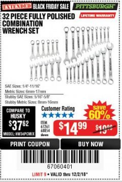Harbor Freight Coupon 32 PIECE FULLY POLISHED SAE & METRIC COMBINATION WRENCH SET Lot No. 68854/61261 Expired: 12/3/18 - $14.99