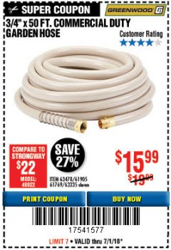 "Harbor Freight Coupon 3/4"" X 50 FT. COMMERCIAL DUTY GARDEN HOSE Lot No. 61905/63478/63335/67019 Expired: 7/31/18 - $15.99"