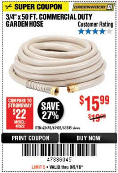 "Harbor Freight Coupon 3/4"" X 50 FT. COMMERCIAL DUTY GARDEN HOSE Lot No. 61905/63478/63335/67019 Expired: 9/9/18 - $15.99"