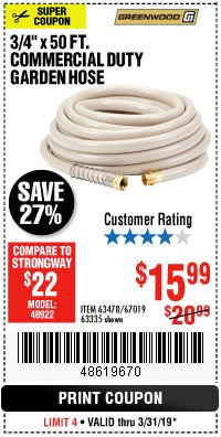 "Harbor Freight Coupon 3/4"" X 50 FT. COMMERCIAL DUTY GARDEN HOSE Lot No. 61905/63478/63335/67019 Expired: 3/31/19 - $15.99"