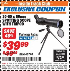 Harbor Freight ITC Coupon 20-60 x 60mm SPOTTING SCOPE WITH TRIPOD Lot No. 62774/94555 Expired: 6/30/18 - $39.99