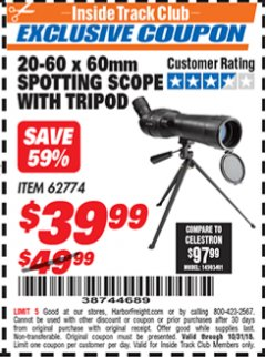 Harbor Freight ITC Coupon 20-60 x 60mm SPOTTING SCOPE WITH TRIPOD Lot No. 62774/94555 Expired: 10/31/18 - $39.99