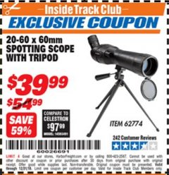 Harbor Freight ITC Coupon 20-60 x 60mm SPOTTING SCOPE WITH TRIPOD Lot No. 62774/94555 Expired: 12/31/18 - $39.99