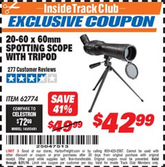 Harbor Freight ITC Coupon 20-60 x 60mm SPOTTING SCOPE WITH TRIPOD Lot No. 62774/94555 Expired: 8/31/19 - $42.99