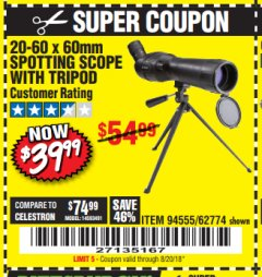 Harbor Freight Coupon 20-60 x 60mm SPOTTING SCOPE WITH TRIPOD Lot No. 62774/94555 Expired: 8/20/18 - $39.99