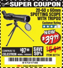 Harbor Freight Coupon 20-60 x 60mm SPOTTING SCOPE WITH TRIPOD Lot No. 62774/94555 Expired: 7/19/19 - $39.99