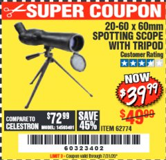 Harbor Freight Coupon 20-60 x 60mm SPOTTING SCOPE WITH TRIPOD Lot No. 62774/94555 Valid Thru: 7/31/20 - $39.99