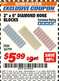 "Harbor Freight ITC Coupon 3 PIECE 2"" x 6"" DIAMOND HONE BLOCKS Lot No. 36799 Expired: 8/31/18 - $5.99"
