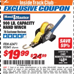 Harbor Freight ITC Coupon 900 LB. CAPACITY HAND WINCH Lot No. 62471/95541 Expired: 2/28/19 - $19.99