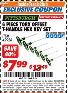 Harbor Freight ITC Coupon 6 PIECE TORX OFFSET T-HANDLE HEX KEY SET Lot No. 42926 Expired: 12/31/18 - $7.99