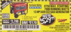 Harbor Freight Coupon 8750 PEAK / 7000 RUNNING WATTS 13 HP (420 CC) GAS GENERATOR Lot No. 68530/63086/63085/69671/68525/63087/63088 Valid Thru: 6/9/18 - $529.99