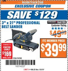 "Harbor Freight ITC Coupon 3"" x 21"" INDUSTRIAL VARIABLE SPEED BELT SANDER Lot No. 69860/94748 Expired: 1/9/19 - $39.99"