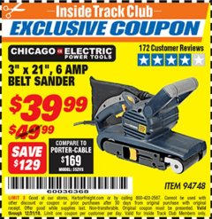 "Harbor Freight ITC Coupon 3"" x 21"" INDUSTRIAL VARIABLE SPEED BELT SANDER Lot No. 69860/94748 Expired: 12/31/18 - $39.99"