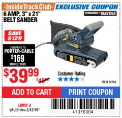 "Harbor Freight ITC Coupon 3"" x 21"" INDUSTRIAL VARIABLE SPEED BELT SANDER Lot No. 69860/94748 Expired: 2/12/19 - $39.99"