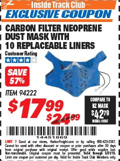 Harbor Freight ITC Coupon CARBON FILTER NEOPRENE DUST MASK WITH REPLACEABLE LINERS Lot No. 94222 Expired: 5/31/18 - $17.99