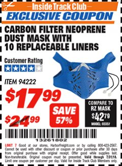 Harbor Freight ITC Coupon CARBON FILTER NEOPRENE DUST MASK WITH REPLACEABLE LINERS Lot No. 94222 Expired: 7/31/18 - $17.99