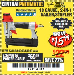 "Harbor Freight Coupon 18 GAUGE 1/4"" CROWN STAPLER Lot No. 69719/68018 Expired: 11/30/18 - $15.99"
