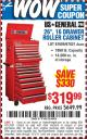 "Harbor Freight Coupon 26"", 16 DRAWER ROLLER CABINET Lot No. 67831/61609 Expired: 10/1/15 - $319.99"