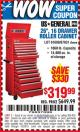 "Harbor Freight Coupon 26"", 16 DRAWER ROLLER CABINET Lot No. 67831/61609 Expired: 10/29/15 - $319.99"