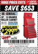 "Harbor Freight Coupon 26"", 16 DRAWER ROLLER CABINET Lot No. 67831/61609 Expired: 1/2/17 - $299.99"