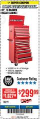 "Harbor Freight Coupon 26"", 16 DRAWER ROLLER CABINET Lot No. 67831/61609 Expired: 4/1/18 - $299.99"