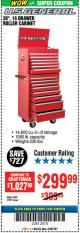 "Harbor Freight Coupon 26"", 16 DRAWER ROLLER CABINET Lot No. 67831/61609 Expired: 4/29/18 - $299.99"