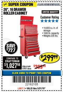 "Harbor Freight Coupon 26"", 16 DRAWER ROLLER CABINET Lot No. 67831/61609 Expired: 5/31/18 - $299.99"