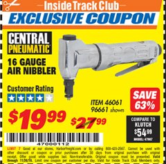 Harbor Freight ITC Coupon 16 GAUGE AIR NIBBLER Lot No. 46061/96661 Expired: 11/30/18 - $19.99