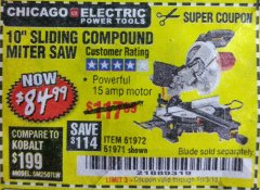 "Harbor Freight Coupon 10"" SLIDING COMPOUND MITER SAW Lot No. 98199/61307/61971/61972 Valid Thru: 10/3/18 - $84.99"