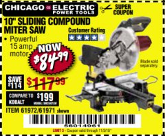 "Harbor Freight Coupon 10"" SLIDING COMPOUND MITER SAW Lot No. 98199/61307/61971/61972 Valid Thru: 11/3/18 - $84.99"