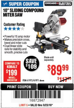 "Harbor Freight Coupon 10"" SLIDING COMPOUND MITER SAW Lot No. 98199/61307/61971/61972 Expired: 9/23/18 - $89.99"